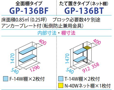 タクボ物置GP-136B(間口1304mm×奥行650mm×高さ1600mm)