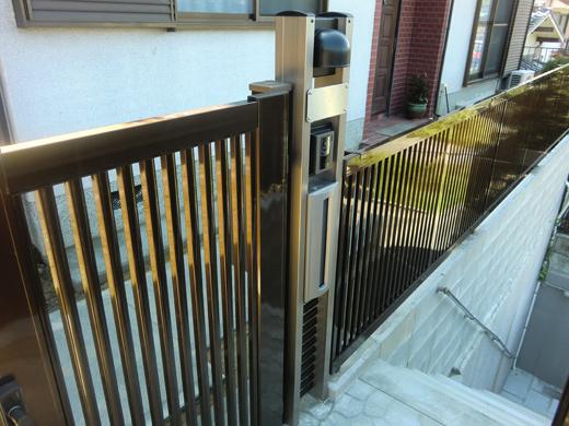 門扉+門柱+アルミフェンス(縦・目隠し)