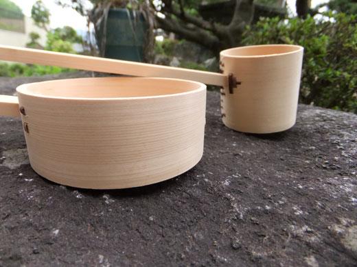 天然竹柄杓(浅底・深底)・柄杓置き