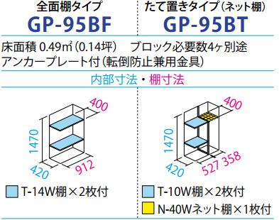 タクボ物置GP-95B(間口920mm×奥行530mm×高さ1600mm)