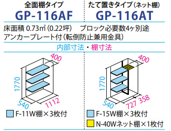 タクボ物置GP-116A(間口1120mm×奥行650mm×高さ1900mm)