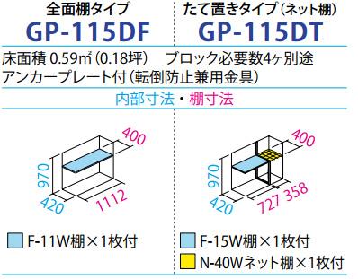 タクボ物置GP-115D(間口1120mm×奥行530mm×高さ1100mm)