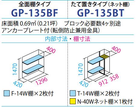 タクボ物置GP-135B(間口1304mm×奥行530mm×高さ1600mm)