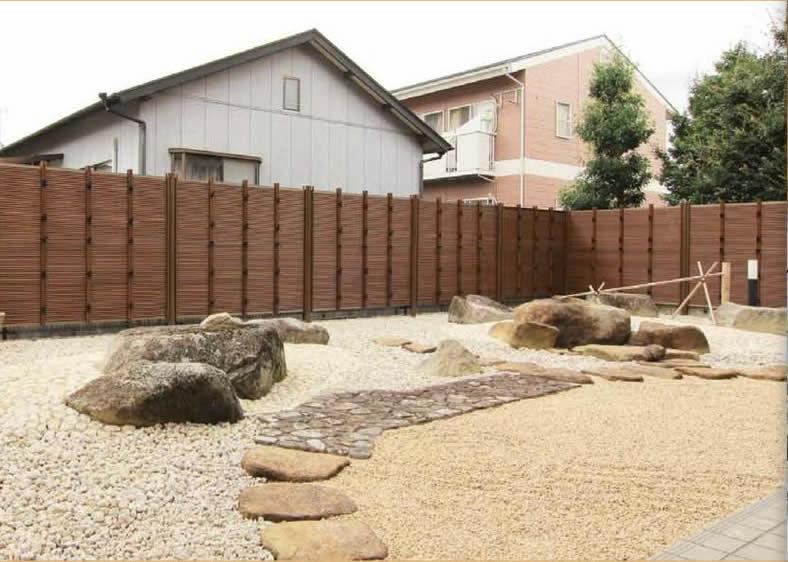 人工竹垣組立てセット「みす垣K3型柱見せタイプ(すす竹木目調柱)」