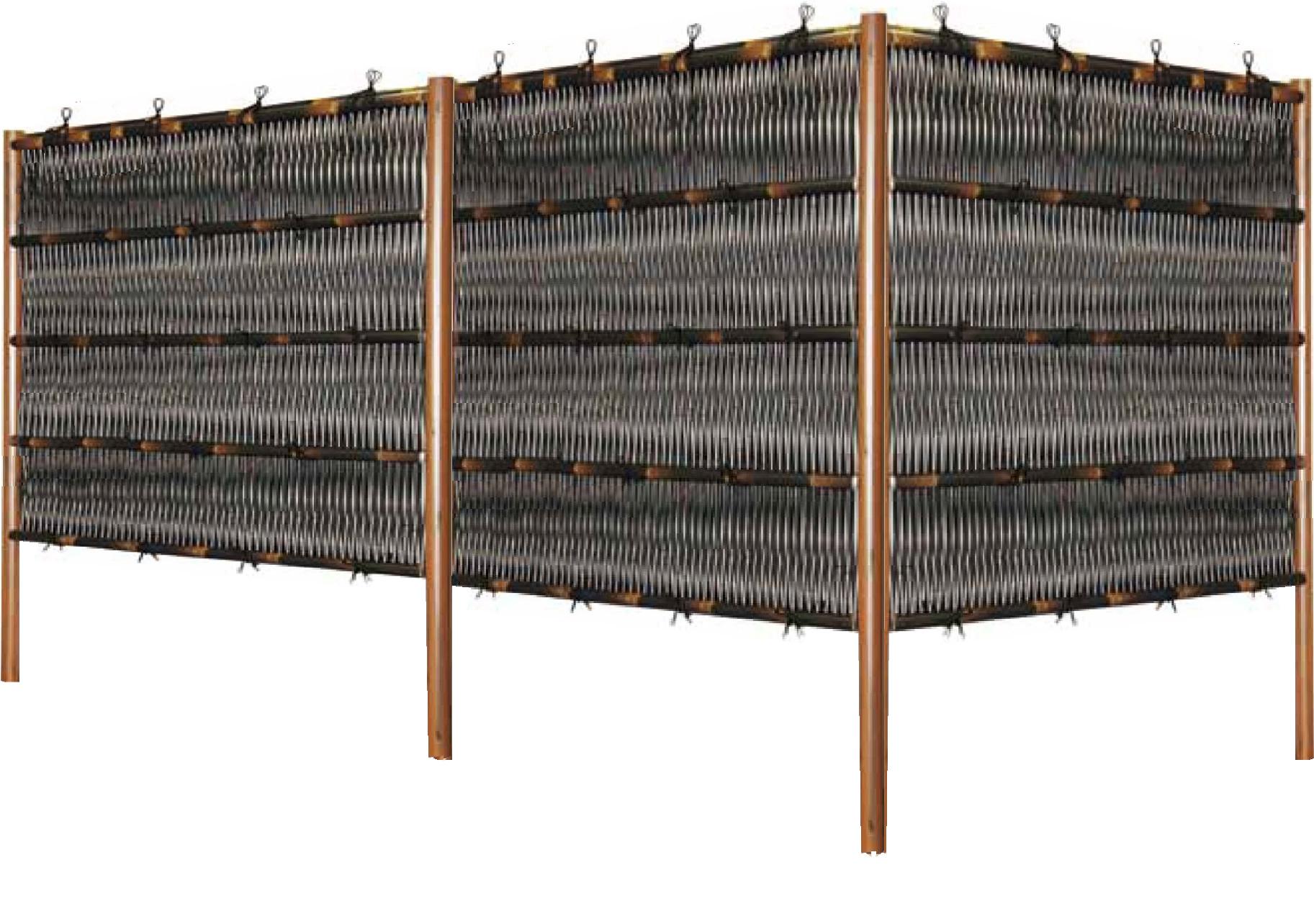 人工竹垣組立てセット「大津垣O3型柱見せタイプ(黒竹木目調丸柱)」