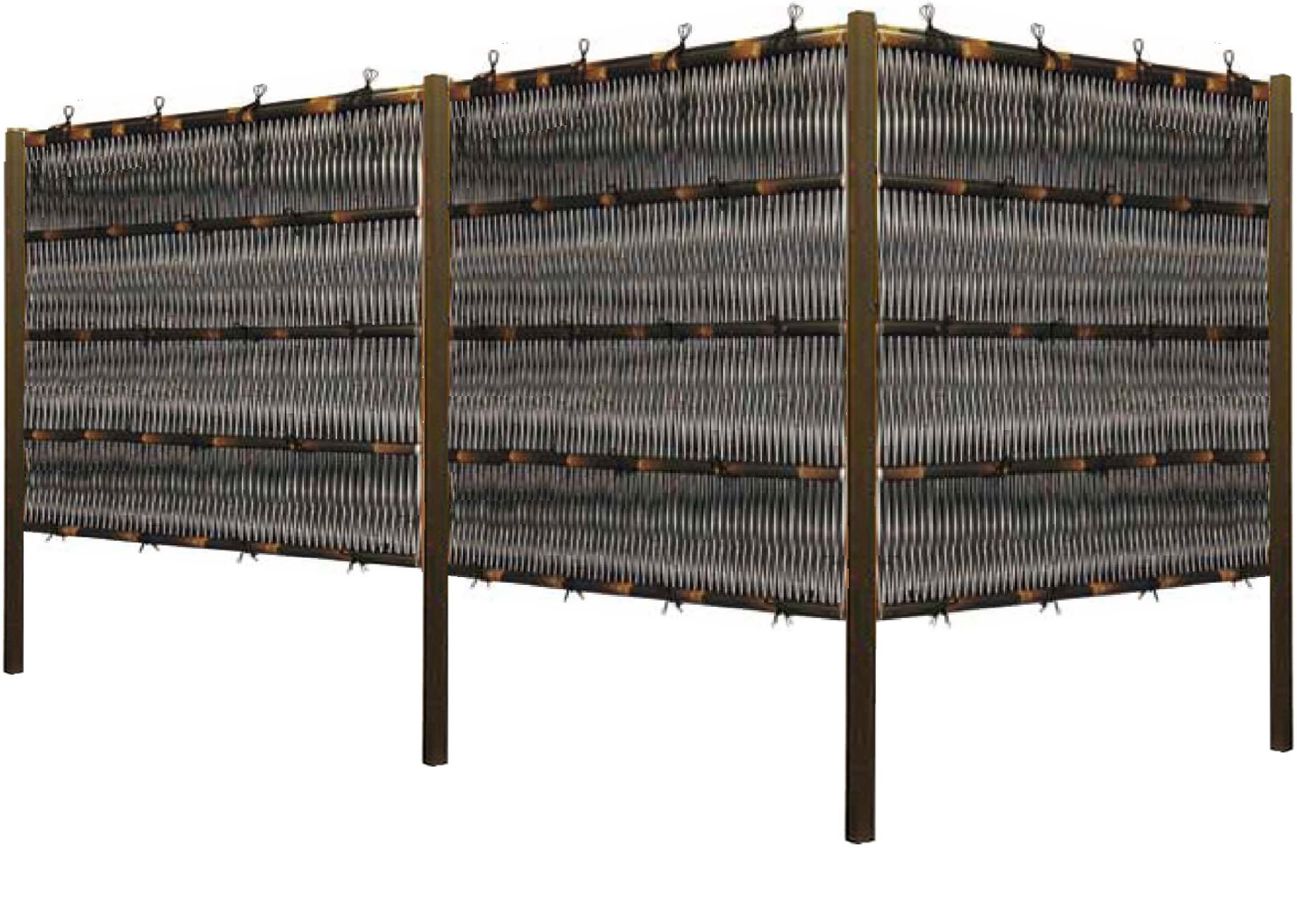人工竹垣組立てセット「大津垣O3型柱見せタイプ(黒竹黒焼杉角柱)」