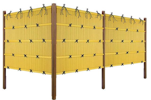 「縦みす垣P2型 両面 柱見せタイプ(イエロー竹木目調角柱)」