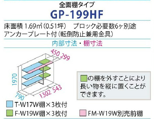 タクボ物置GP-199H(間口1879mm×奥行900mm×高さ2100mm)