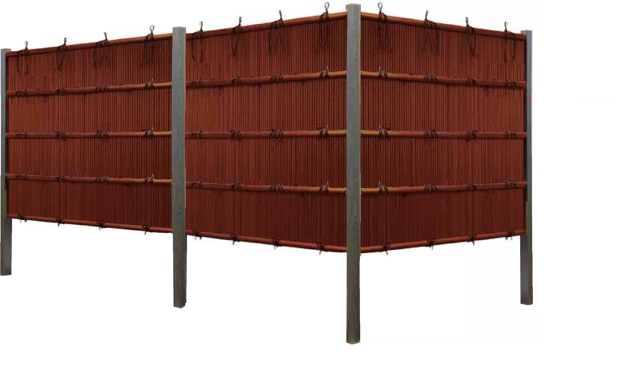 「縦みす垣P1型 両面 柱見せタイプ(すす竹黒焼杉角柱)」