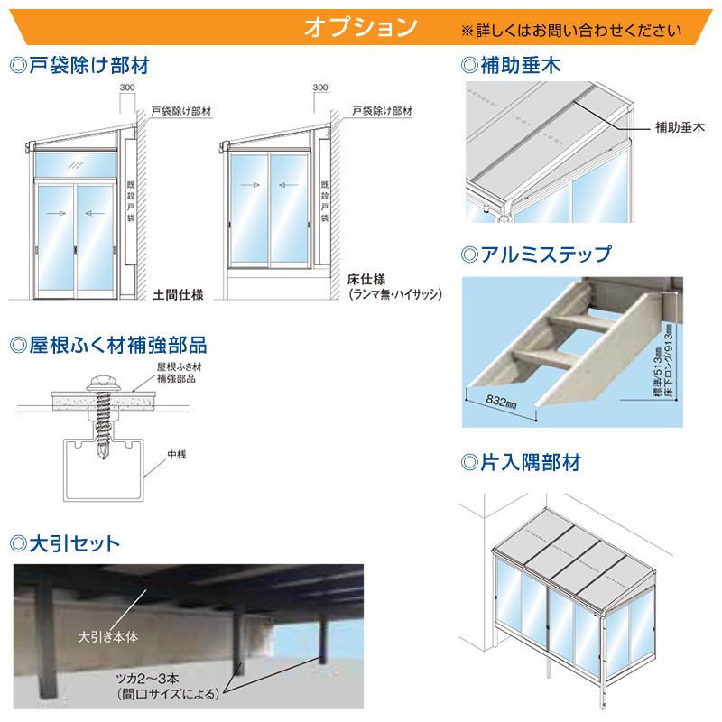 テラス囲いR屋根タイプ 正面側面ガラス窓付きノーマルサッシ プラデッキ床仕様