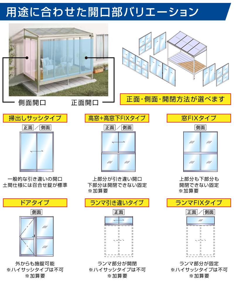 テラス囲いフラット屋根タイプ 正面側面ガラス窓付きノーマルサッシ プラデッキ床仕様