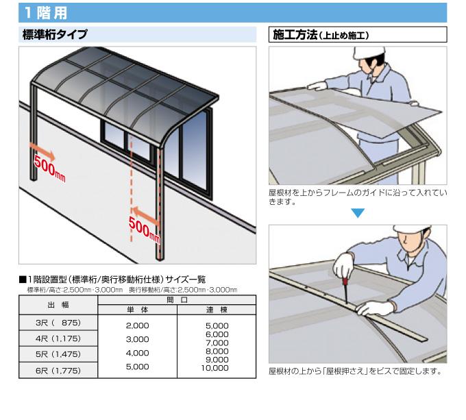 フラット屋根タイプテラス「グランフラット」ポリカ屋根材付