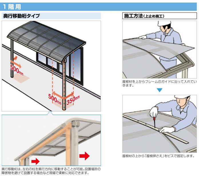 R屋根タイプテラス「グランテラス2」ポリカ屋根材付