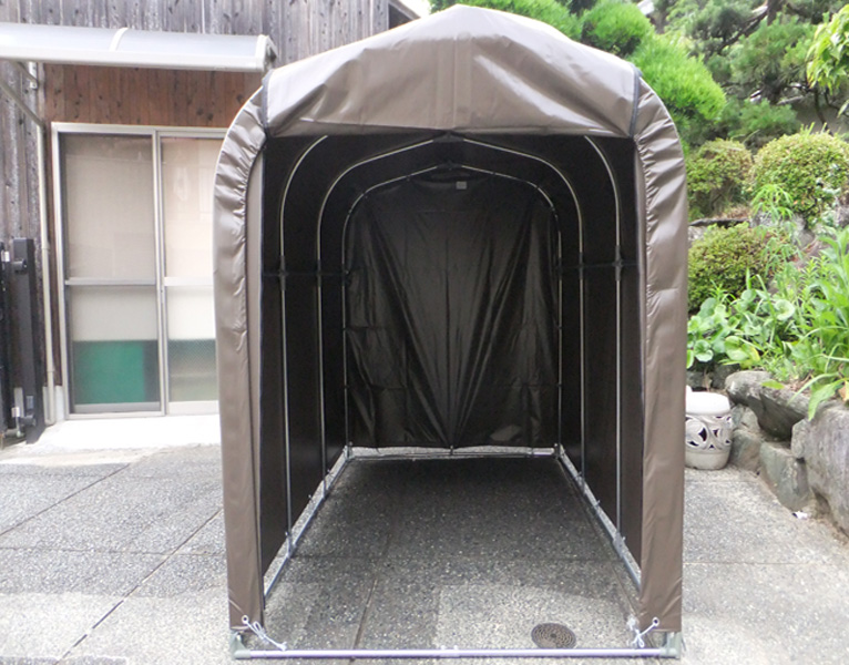 パイプ車庫「サイクルハウス」 2台収納 前幕巻上げ式 両サイドジッパー