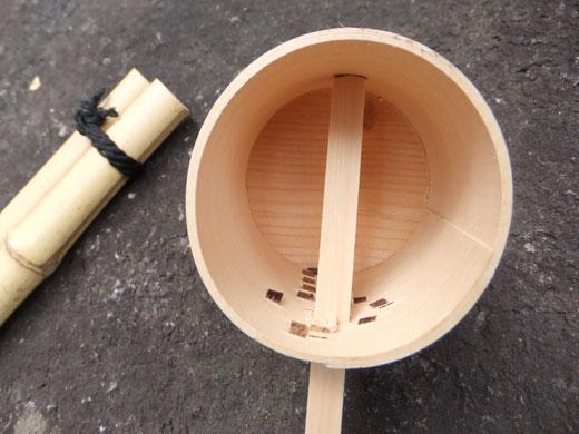 サ天然竹柄杓(浅底・深底)・柄杓置き