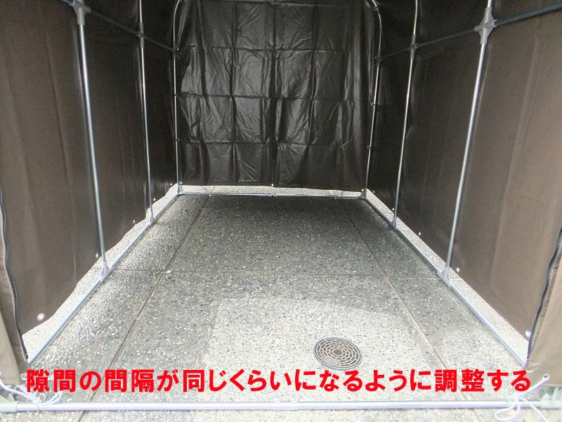 パイプ車庫「サイクルハウス」 3台収納 前幕巻上げ式 両サイドジッパー