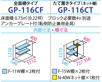 タクボ物置GP-116C(間口1120mm×奥行650mm×高さ1400mm)