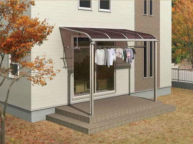 R屋根タイプ 「オリジナルテラス」1階用 移動桁仕様 積雪50cm対応 ポリカ屋根材付