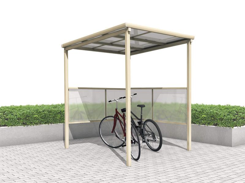 ポリカ自転車置場 L型パネル端部柱 間口1452mmタイプ