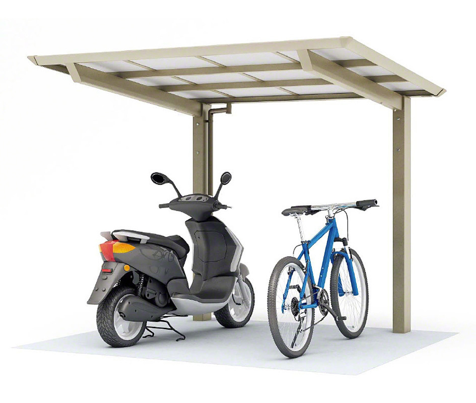 ポリカ自転車置場 フラット屋根 サイクルポート