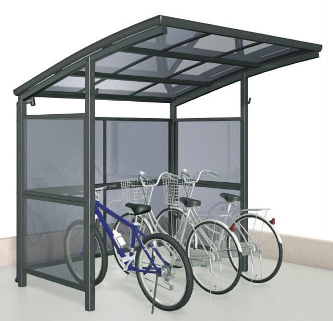 ポリカ自転車置場 パネル囲い付き パネル奥行2100タイプ