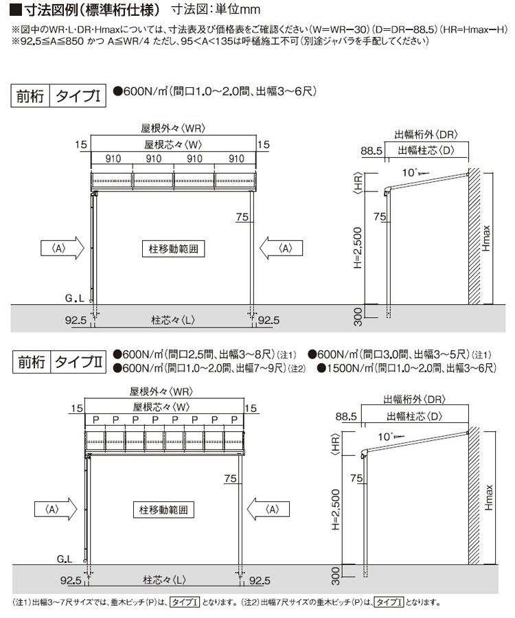フラット屋根タイプ 「オリジナルテラス」1階用 標準桁仕様 積雪50cm対応 ポリカ屋根材付