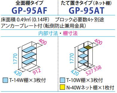 タクボ物置GP-95A(間口920mm×奥行530mm×高さ1900mm)