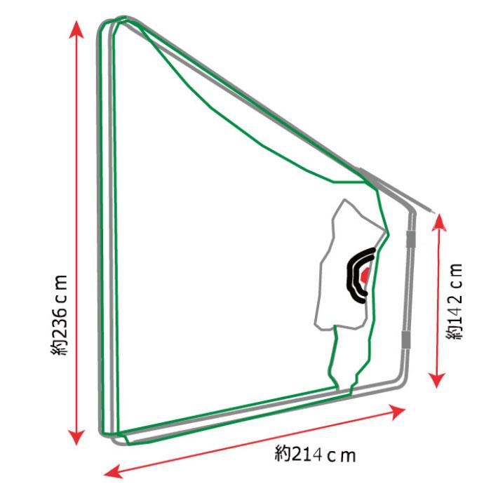 ゴルフ練習用ネット折り畳み式移動展開タイプ 間口約287cm×奥行約162cm×高さ約236cm