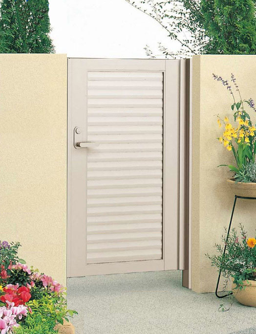 目隠し門扉 片開き 外開き様 門柱タイプ 高さ1400、1600mm