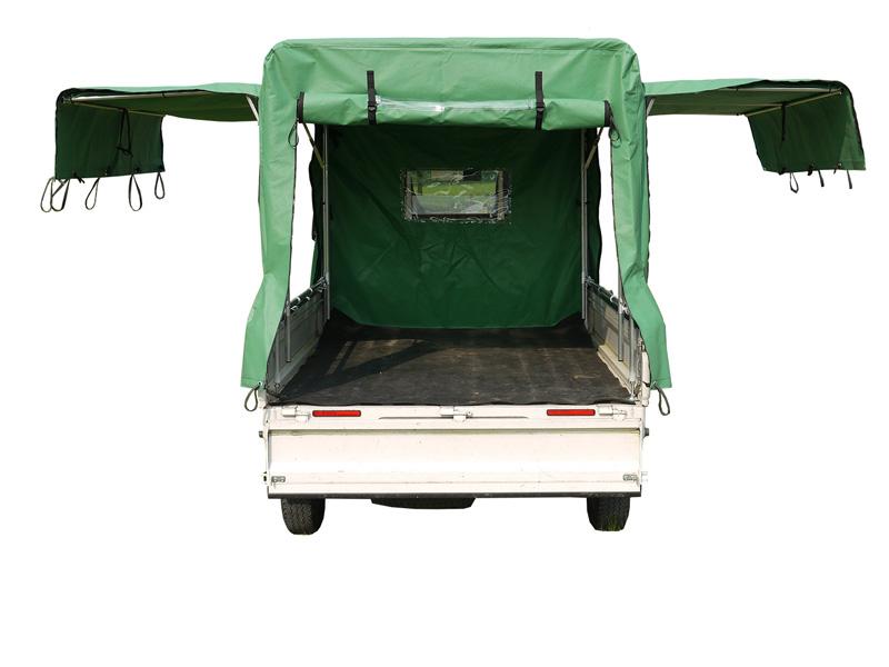 軽トラック幌セット/エステル帆布生地(緑)/両側跳ね後ろ巻き上げ3面開閉式