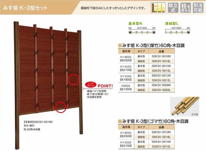 人工竹垣組立てセット「みす垣K3型柱見せタイプ(すす竹木目調角柱)」