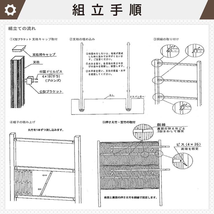 人工竹 組立セット「縦みす垣P型」