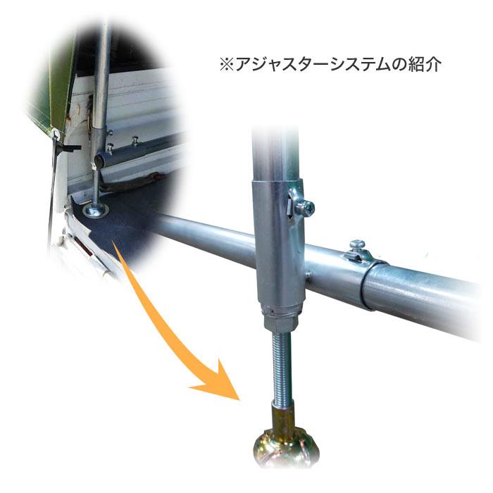 軽トラック幌セット 両サイド跳ね上げ後ろ巻き上げ3面開閉式