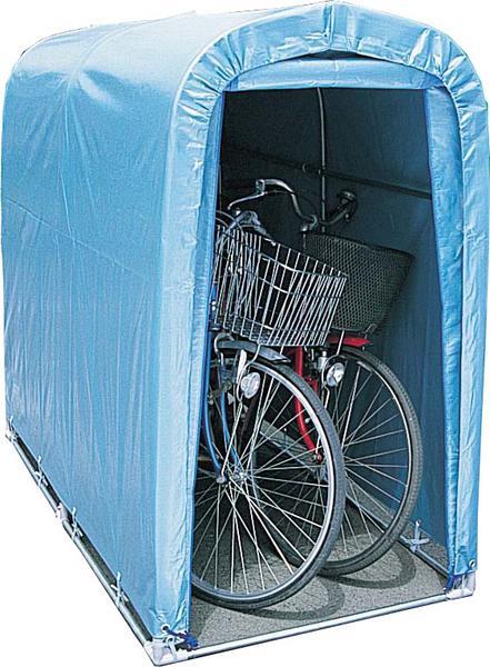 パイプ車庫「サイクルハウス」 2台用 前幕巻上げ式 ブルー色