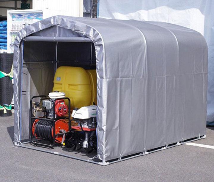 パイプ車庫「サイクルハウス」 3台収納 前幕巻上げ式 シルバー色