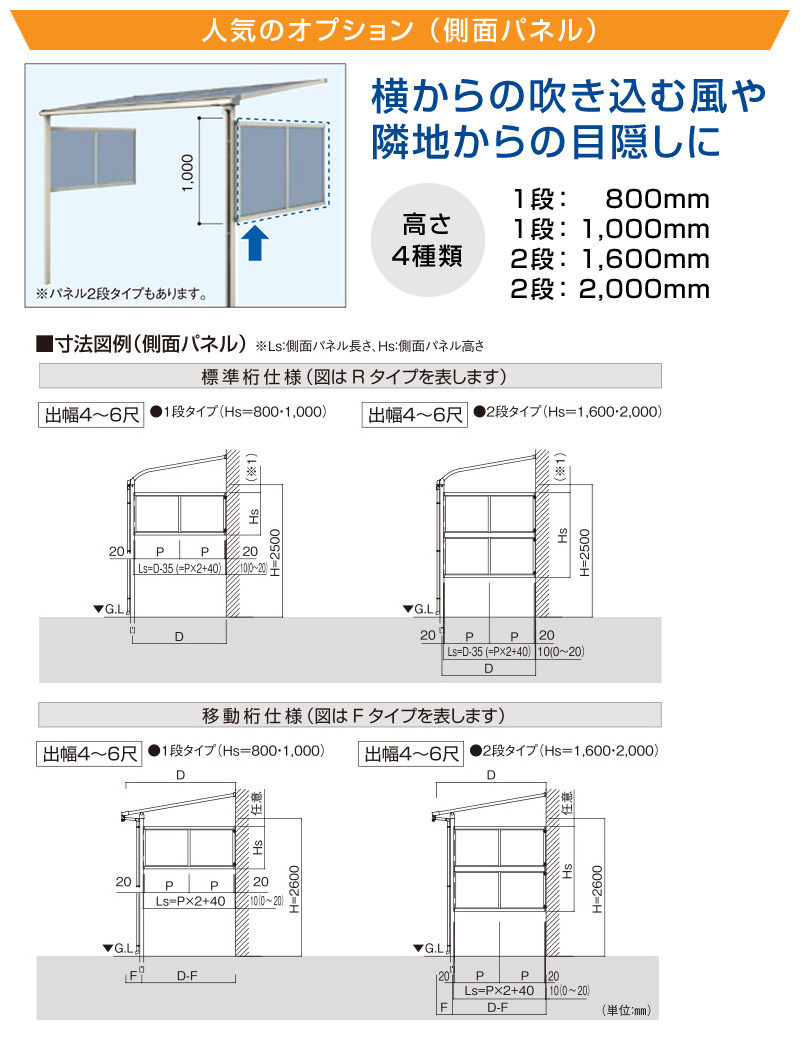 フラット屋根タイプテラス 2階用 移動桁仕様