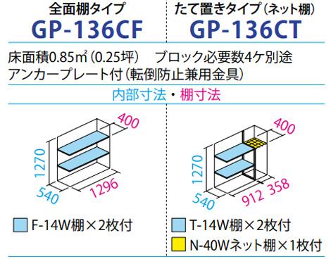 タクボ物置GP-136C(間口1304mm×奥行650mm×高さ1400mm)