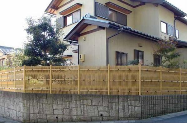 人工竹垣組立てセット「大津垣O型」イエロー竹イエロー丸柱 柱見せ