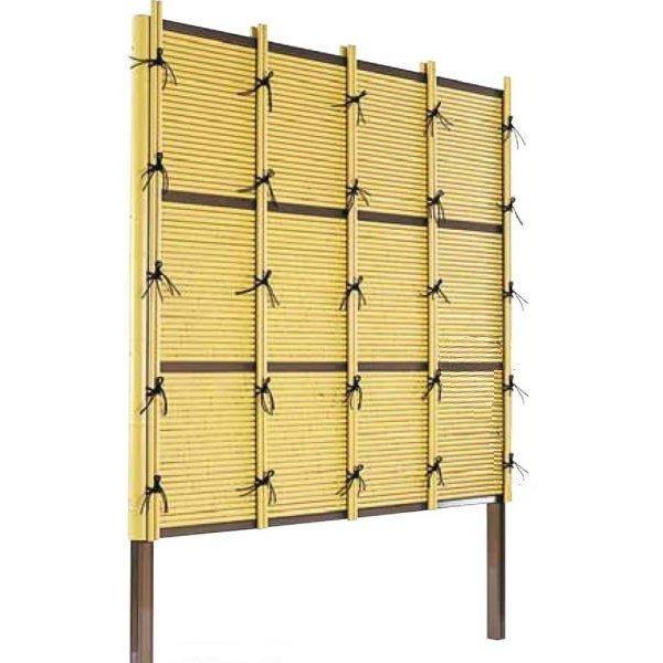 人工竹垣組立てセット「みす垣F型」柱隠しイエロー竹ブロンズ裏柱