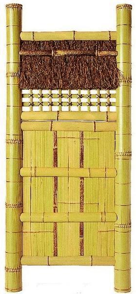 天然竹袖垣「白平割垣」