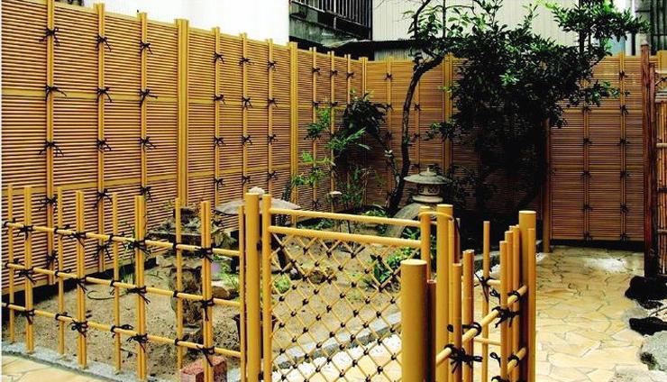人工竹垣組立てセット「みす垣I型」イエロー竹イエロー丸柱 柱見せ