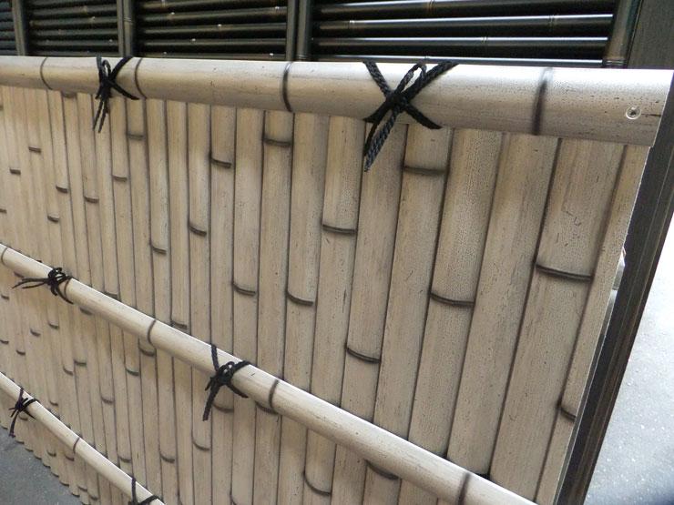 人工竹垣組立てセット「建仁寺垣AW型さび竹」柱見せ 片面