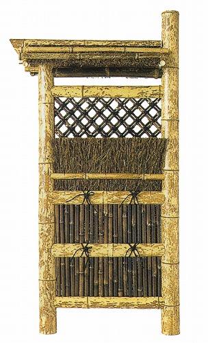 天然竹袖垣 「図面屋根付垣(屋根取外可)」